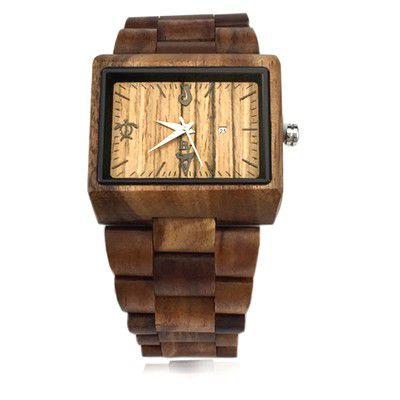Handmade 40 x 30 mm Koa Wood Men's Watch with Rectangle  Face