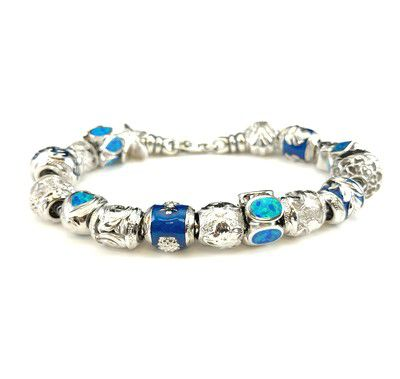 Sterling Silver Blue Hawaii Bead Bracelet with Screw End