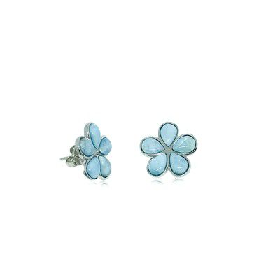 Sterling Silver and Genuine Larimar Plumeria Stud Earrings