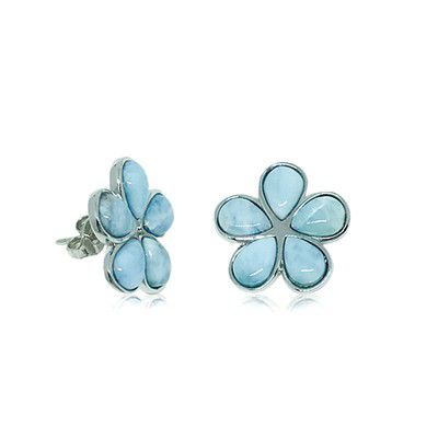 Sterling Silver and Genuine Larimar 15mm Plumeria Earrings