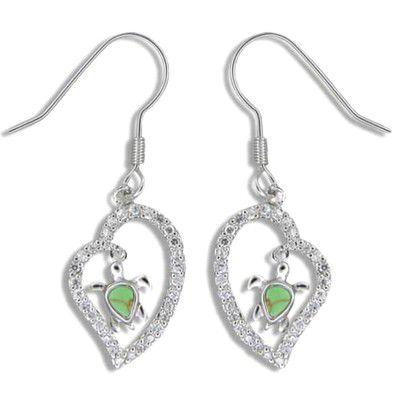Sterling Silver Green Turquoise Hawaiian Honu in CZ Heart Fish Wire Earrings
