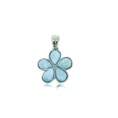 Sterling Silver and Genuine Larimar 15mm Plumeria Pendant