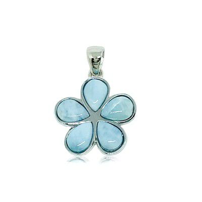 Sterling Silver and Genuine Larimar 20mm Plumeria Pendant