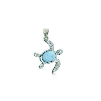 Sterling Silver and Genuine Larimar Small Honu Pendant