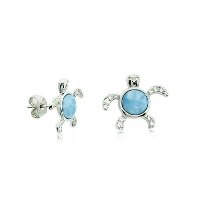 Sterling Silver and Genuine Larimar CZ Small Honu Stud Earrings