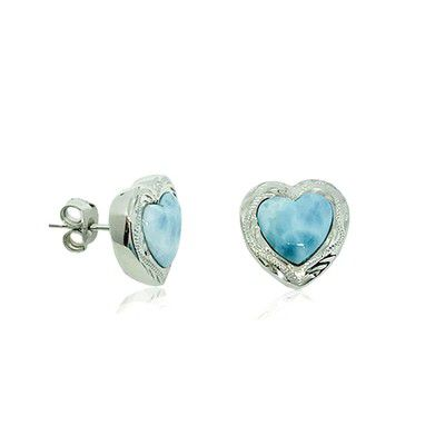 Sterling Silver and Genuine Larimar Heart Shaped Stud Earrings