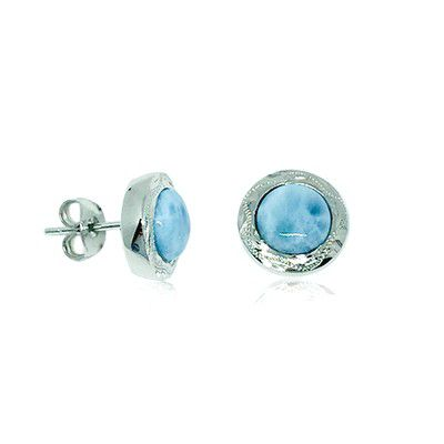 Sterling Silver and Genuine Larimar Round Shaped Stud Earrings
