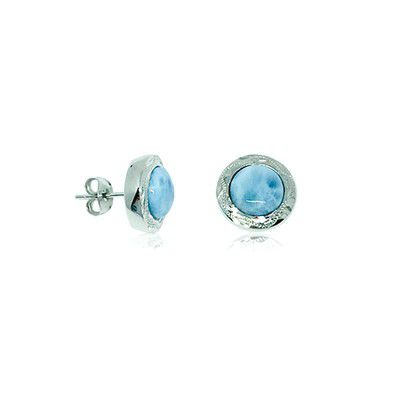 Sterling Silver and Genuine Larimar 10MM Round Shaped Stud Earrings