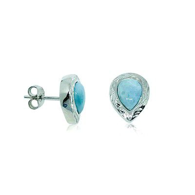 Sterling Silver and Genuine Larimar Pear Shaped Stud Earrings