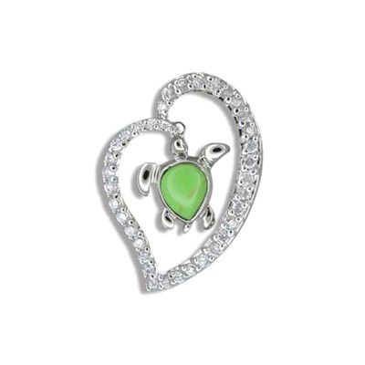 Sterling Silver Hawaiian Green Turquoise Honu in CZ Heart Pendant
