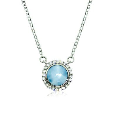 Sterling Silver and Genuine Round Larimar CZ Halo Necklace
