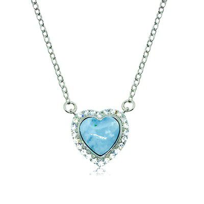 Sterling Silver and Genuine heart Shape Larimar CZ Halo Necklace