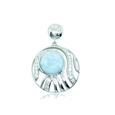 Sterling Silver and Genuine Larimar Currents in Circle Pendant