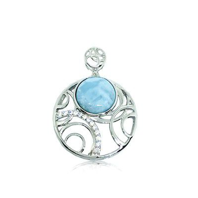Sterling Silver and Genuine Larimar Circles in Circle Pendant