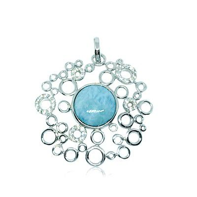 Sterling Silver and Genuine Larimar Bubbles Pendant