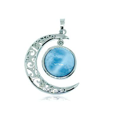 Sterling Silver and Genuine Larimar Sun and Moon Pendant