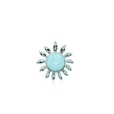 Sterling Silver and Genuine Larimar Small Sun Pendant