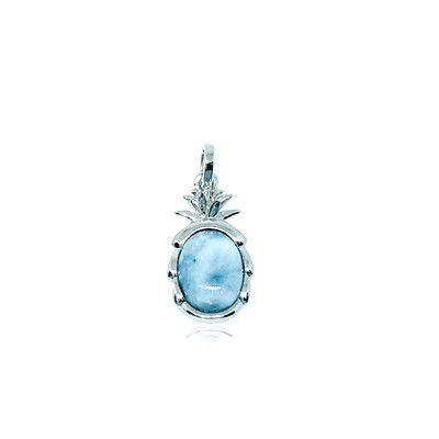 Sterling Silver and Genuine Larimar Small Pineapple Pendant