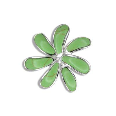 Sterling Silver Hawaiian Green Turquoise Tiare Flower Slide Pendant