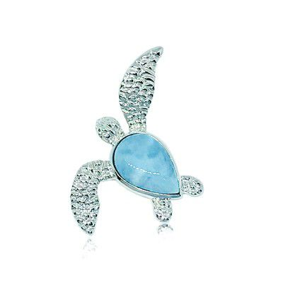 Sterling Silver and Genuine Larimar Sea Turtle Pendant