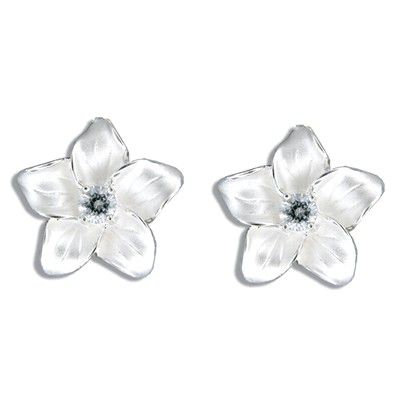 Sterling Silver White Sand CZ Plumeria Pierced Earrings