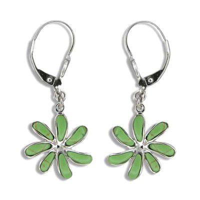 Sterling Silver Hawaiian Green Turquoise Tiare Flower Lever Back Earrings
