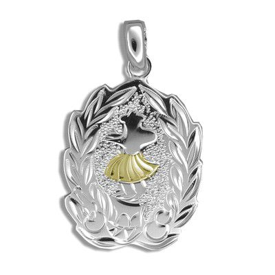 Sterling Silver Yellow Gold Coated Kahiko Maile Hula Dancer Pendant