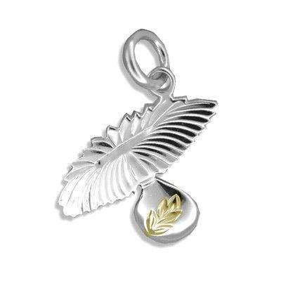 Sterling Silver Yellow Gold Coated Kahiko Uli Uli Pendant