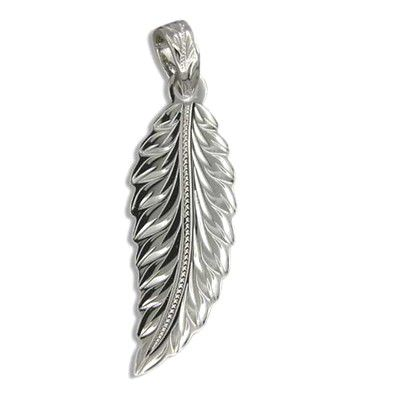 Fine Engraved Sterling Silver Men's Angel Wing Pendant
