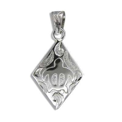 Fine Engraved Sterling Silver Men's Diamond Honu Pendant