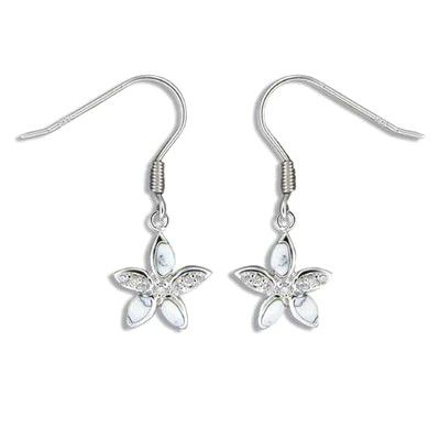 Sterling Silver White Turquoise Plumeria CZ Earrings