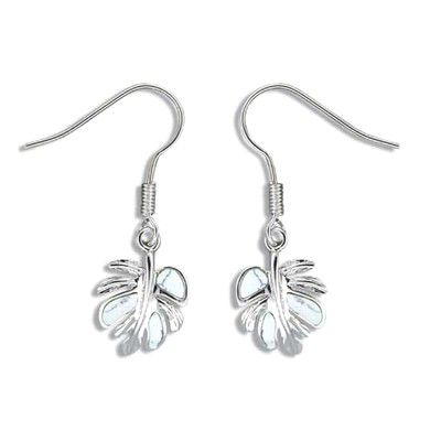 Sterling Silver White Turquoise Monstera Leaf Earrings