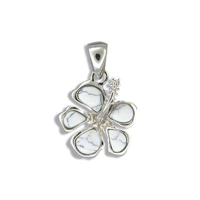 Sterling Silver White Turquoise Hibiscus Pendant(L)