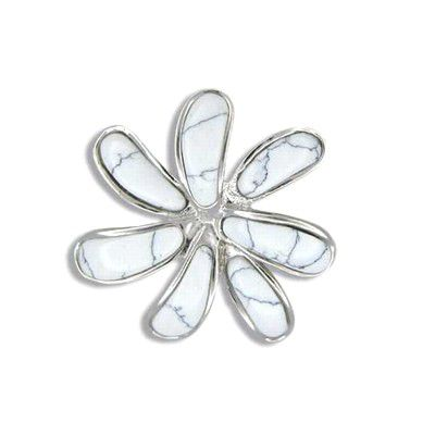 Sterling Silver White Turquoise Tahiti Tiare Flower Pendant