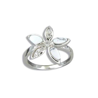 Sterling Silver White Turquoise Plumeria Ring