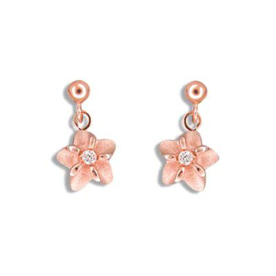 Fine Engraved Sterling Silver Rose Gold Plated Hawaiian Plumeria Dangling Earrings