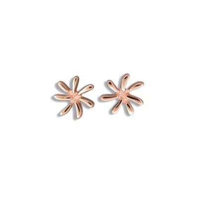 Fine Engraved Sterling Silver Rose Gold Plated Tiare Flower (M) Posted Earrings