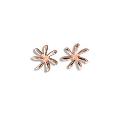 Fine Engraved Sterling Silver Rose Gold Plated Tiare Flower (L) Posted Earrings