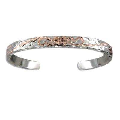 Fine Engraved Sterling Silver Two Tone Hawaiian Plumeria and Scroll 6mm Cuff Bangle