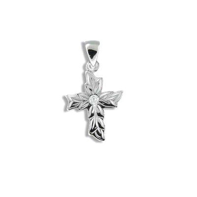 Fine Engraved Sterling Silver Maile Cross with CZ Pendant
