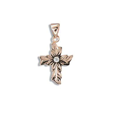 Fine Engraved Sterling Silver Rose Gold Plated Maile Cross with CZ Pendant