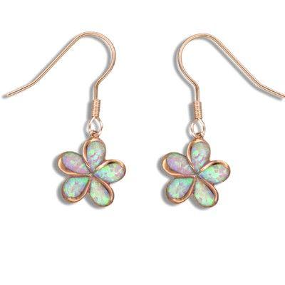 Sterling Silver Pink Opal Hawaiian Pumeria Fish Wire Earrings