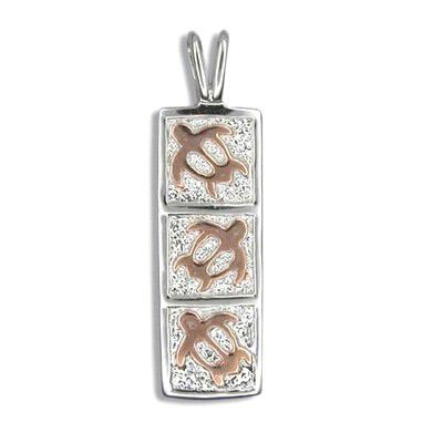 Fine Engraved Sterling Silver Rose Gold Plated Hawaiian Triple Sea Turtle Quilt Pendant