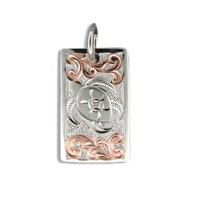 Fine Engraved Sterling Silver Raised Hawaiian Honu and Scroll Pendant