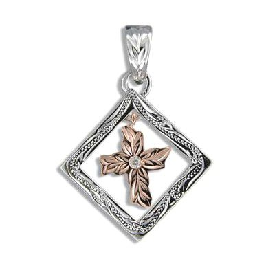 Fine Engraved Sterling Silver Cut-Out Square with Dangling Cross Shaped Pendant