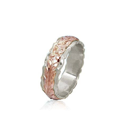 14KT Gold Rose and White Double Two Tone Hawaiian Maile Wedding Ring Band