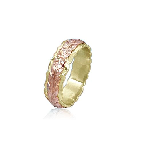 14KT Gold Rose and Yellow Double Two Tone Hawaiian Maile Wedding Ring Band
