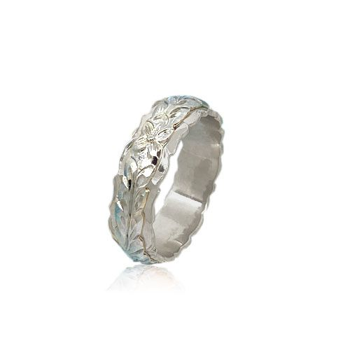 14KT White Gold Double Hawaiian Maile Leaf Wedding Ring Band