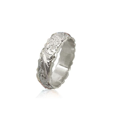 14KT White Gold Double Hawaiian Plumeria Scroll Wedding Ring Band