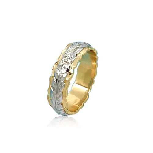 14KT Gold White and Yellow Double Two Tone Hawaiian Maile Wedding Ring Band